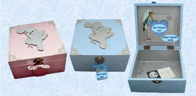 Blue Baby Keepsake Boxes by sistersofthemoon.org.uk