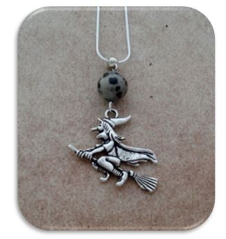 Witch with Dalmation Jasper Pendant