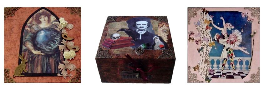 Creation, Poe & Harlequin Memory Boxes sistersofthemoon.org.uk
