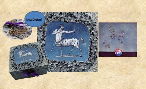 Sagittarius Memory Box in a traditional design in blues and silver sisterso