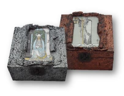 Hermit and High Priestess Tarot Card Memory Boxes