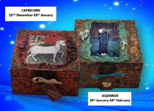 Capricorn and Aquarius Zodiac Memory Boxes sistersofthemoon.org.uk W