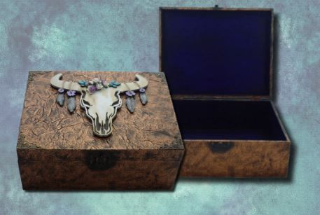 Floral Animal Skull Memory Box sistersofthemoon.org.uk W