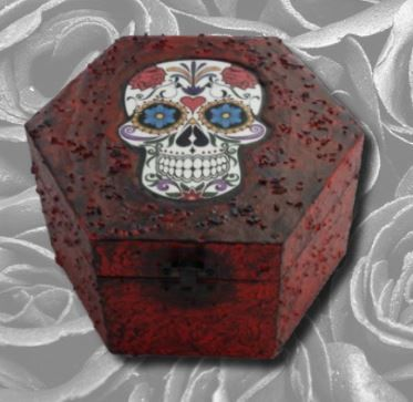 Sugar Skull Hexagonal Memory Box sistersofthemoon.org.uk