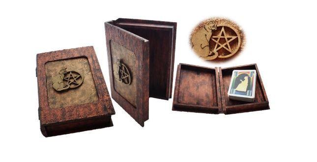 Pentagram Tarot Card Box with Cat sistersofthemoon.org.uk