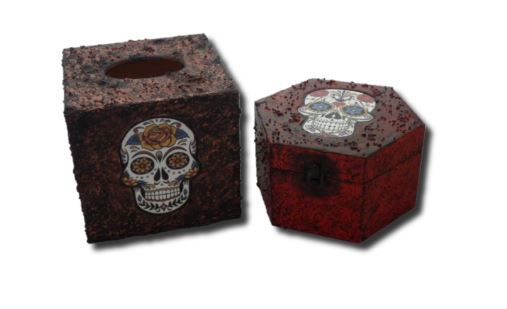 Sugar Skull Day of the Dead Memory Box and Tissue Box Holder sistersofthemo