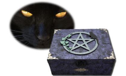 Cat and Pentagram Altar Box sistersofthemoon.org.uk