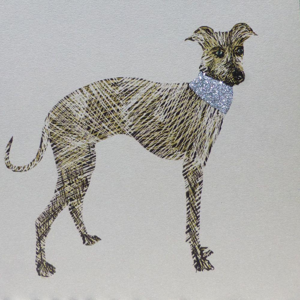 Dog | Glitter Greyhound, clay board