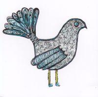Fantail bird, white - 310W
