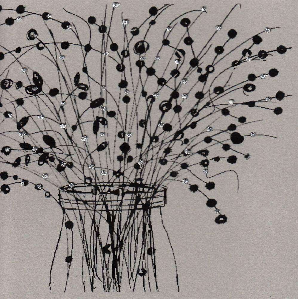 Flowers | Jam Jar of Wild Flowers[black], clay