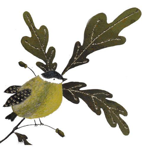 Autumn Oak & Bird