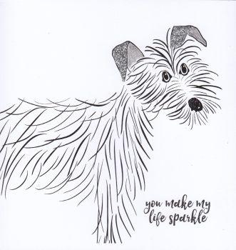 Black & Grey Dog   You make my life sparkle too, white