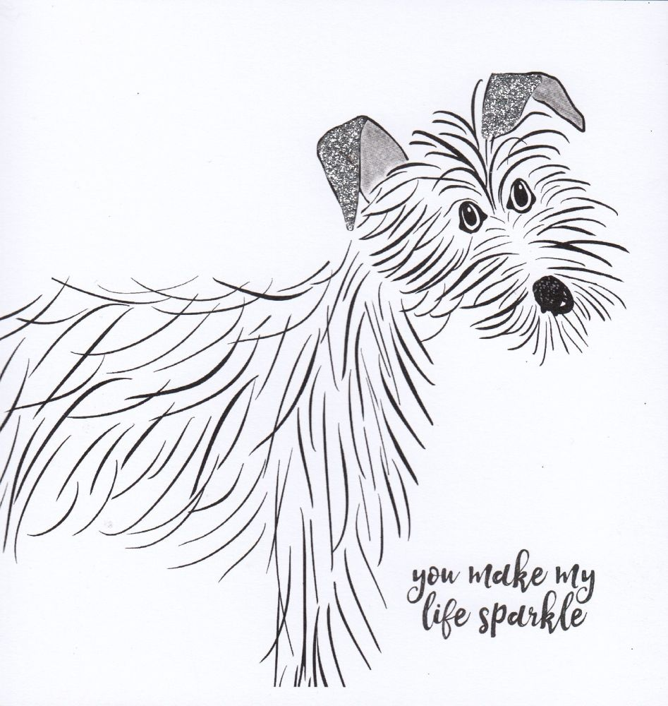 Black & Grey Dog | You make my life sparkle too, white