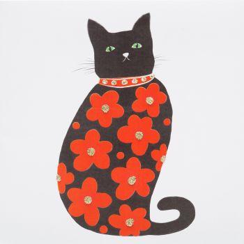 Flower power cat red - 327RW