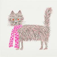 Scruffy cat pink - 349PW