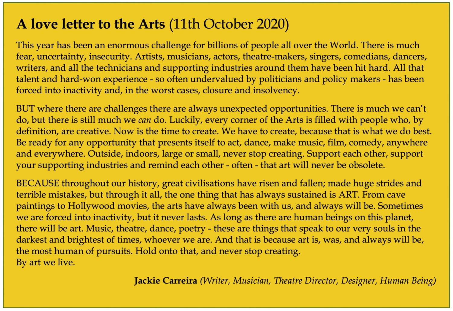 A love letter to the Arts