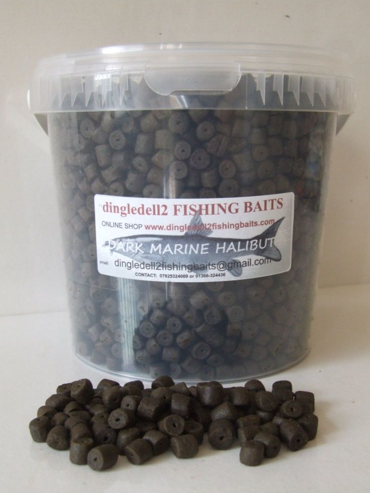 1.500 kg CARRY BUCKET DARK MARINE HALIBUT PRE-DRILLED HOOK PELLETS