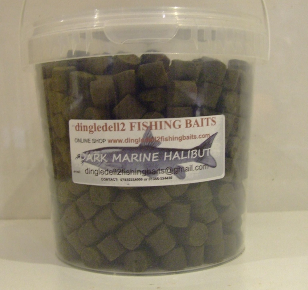 1.500kg CARRY BUCKET 14MM DARK MARINE HALIBUT PRE-DRILLED HOOK PELLETS