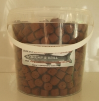 1.500kg Carry Bucket 14MM SHRIMP & KRILL PRE-DRILLED HOOK PELLETS, HAIR RIG OR BANDED