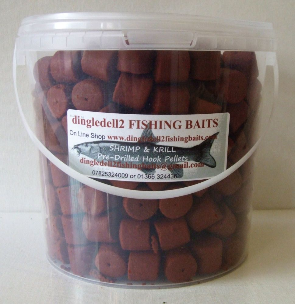 1.500kg 20mm Carry Bucket SHRIMP & KRILL PRE-DRILLED HOOK PELLETS