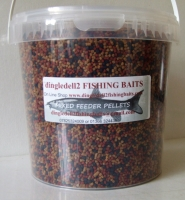 1.500 kg Carry Bucket 2.3mm Triple Mix Sinking Feeder Pellets Shrimp & Krill, Dark Trout, Coarse Feeder pellets