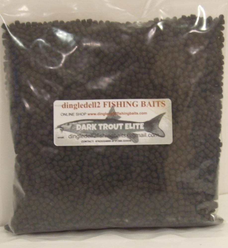 1kg Sealed pack Dark Trout Elite Sinking Feeder Pellets