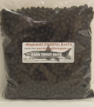 900 gram Sealed Pack 8mm Dark Trout Elite Feeder Pellets,
