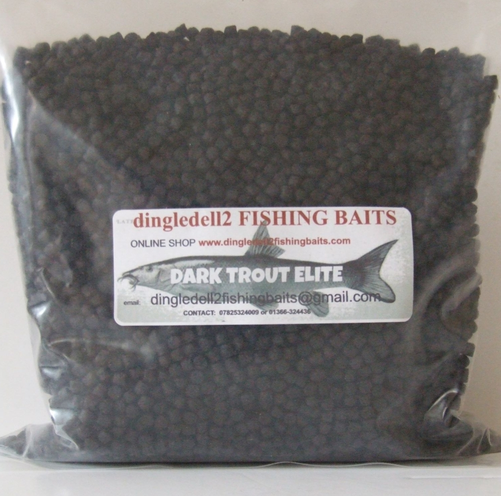 1.500kg Sealed Pack 4mm Dark Trout Elite Sinking Feeder Pellets,