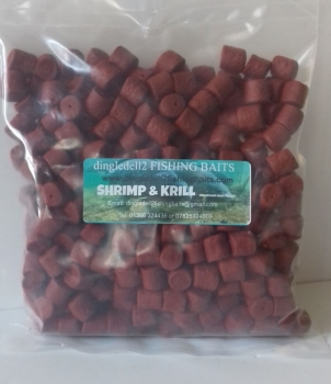 900 gram Sealed Pack 14mm Shrimp & Krill Pre-Drilled Hook Pellets