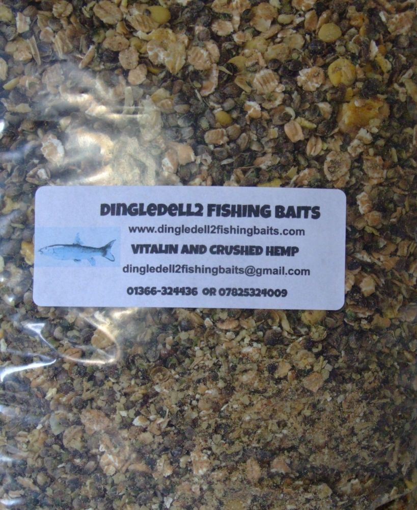 1.500kg Sealed Pack Vitalin & Crushed Hemp, Contains Meat Particles, Carp B