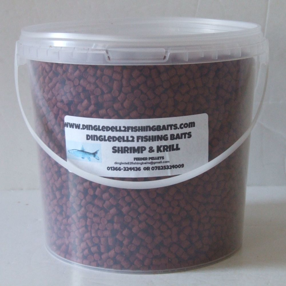 1.500 kg Carry Bucket 4mm Shrimp & Krill Sinking Feeder Pellets,  Barbel, C