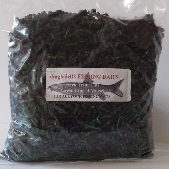 900 gram 6mm Shrimp & Krill, Dark TRout Elite, Carp Coarse Feeder pellets