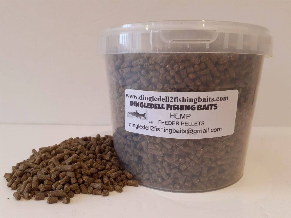 1.5OOkg Carry Bucket  4 Hemp Sinking Feeder Pellets