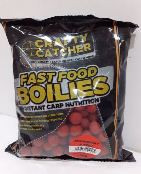 500 gram Pack STRAWBERRY & KRILL 15mm Fast Food  Boilies