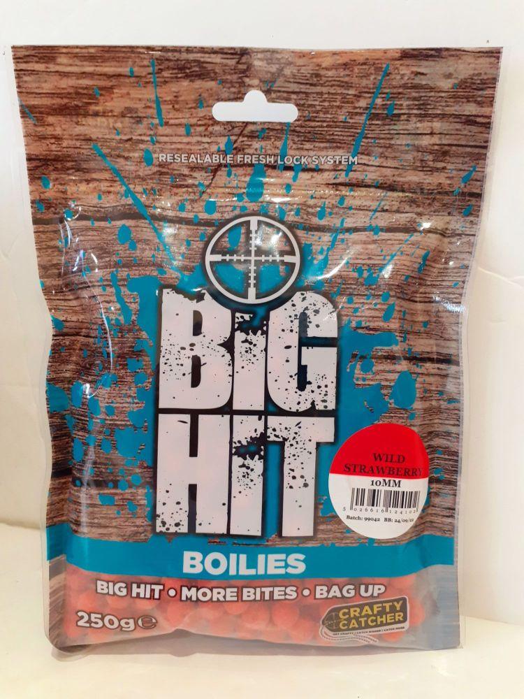 250gram Big Hit Boilies 10mm WILD STRAWBERRY