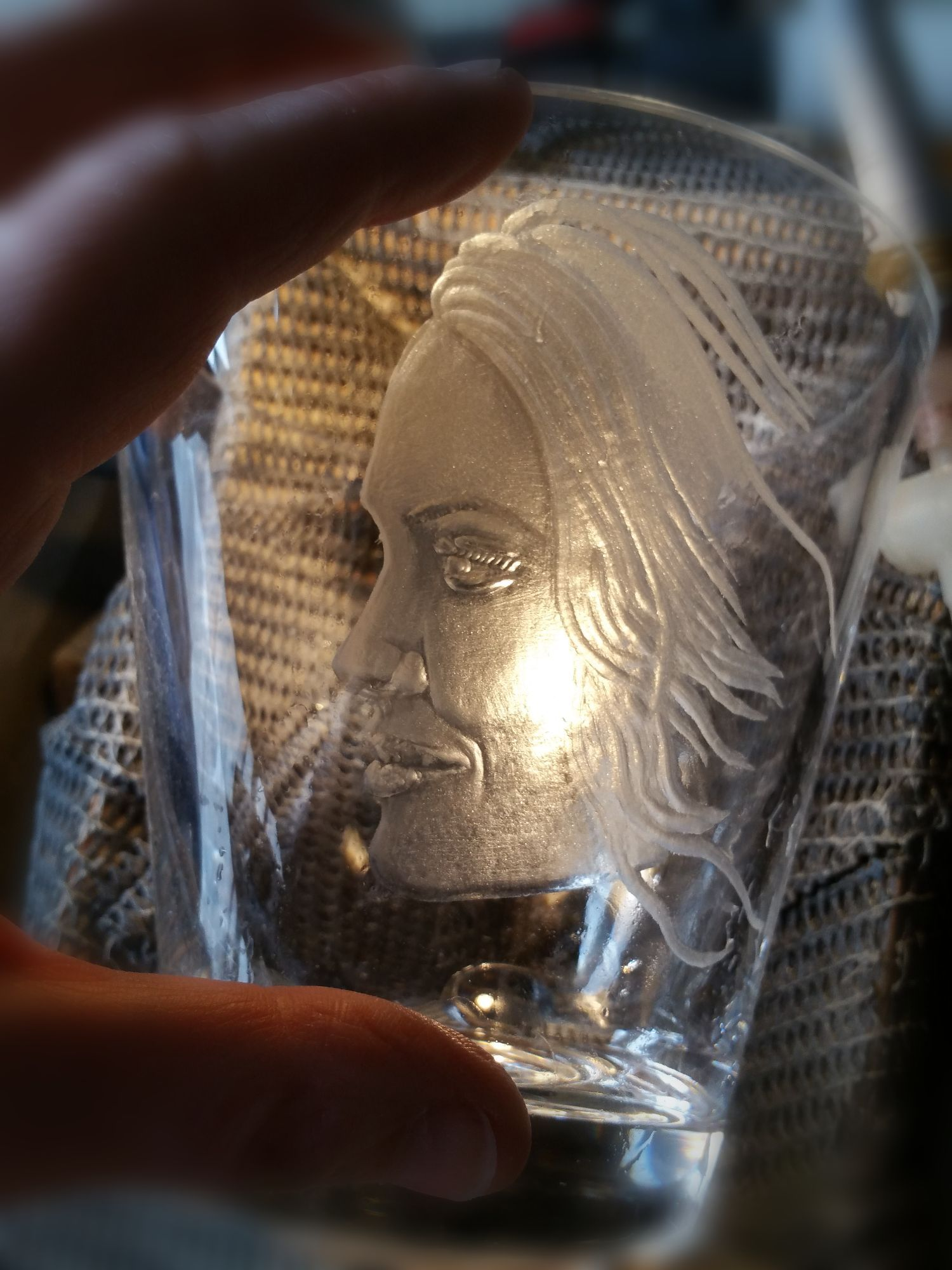 Hand drill portrait engraving