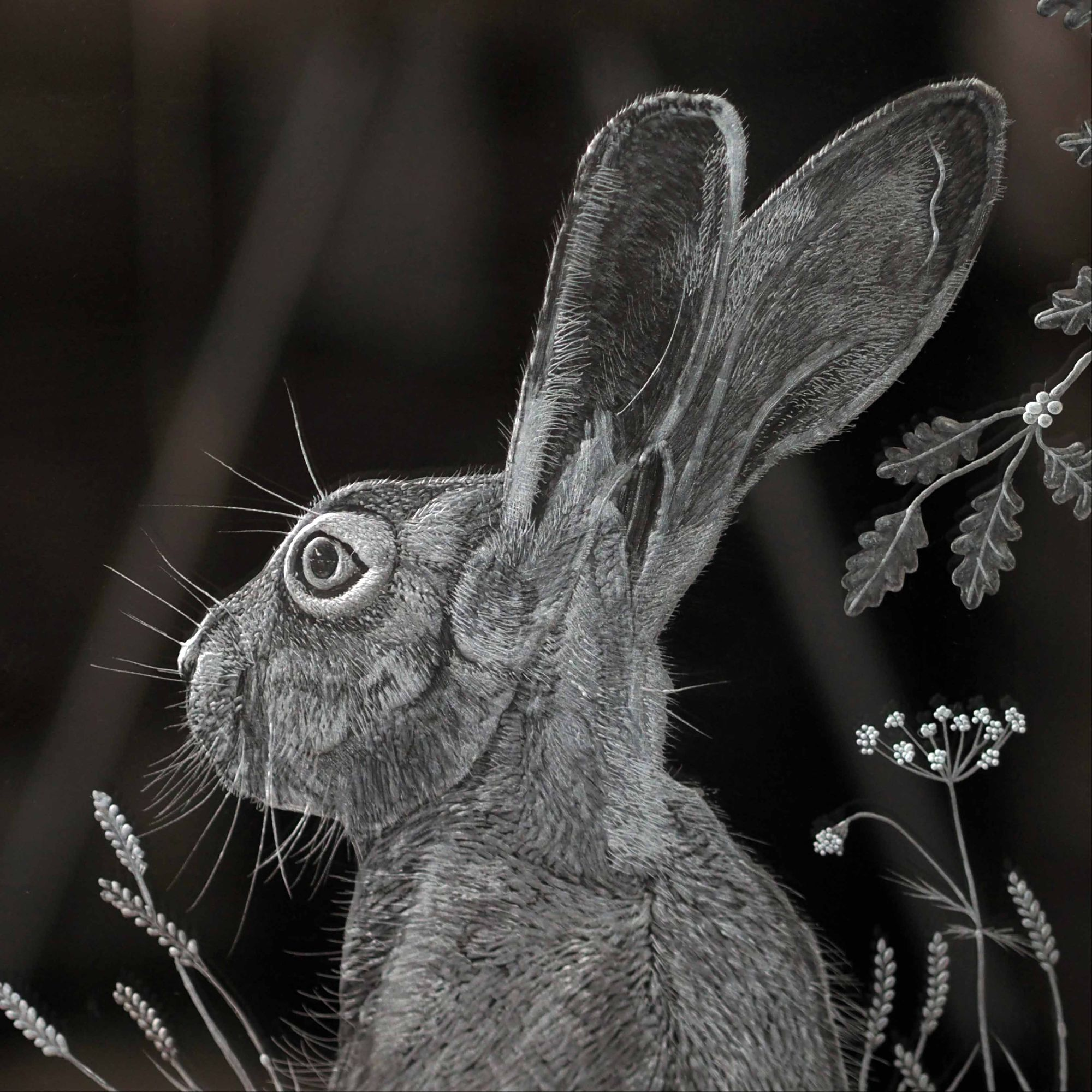 HARE WINDOW PANEL ENGRAVING CLOSE UP