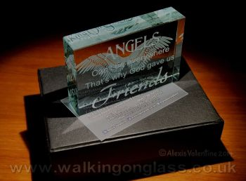 """Angels can't be everywhere"" Optical Glass Ornament."