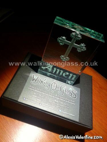 Religious Cross Hand Engraved with Amen Inscription Optical Jade Glass Paperweight in Walking On Glass Gift box
