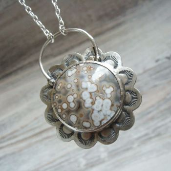 Sterling Silver Ocean Jasper Gemstone Pendant Necklace