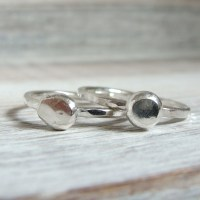 Recycled Sterling Silver Pebble Stacking Rings