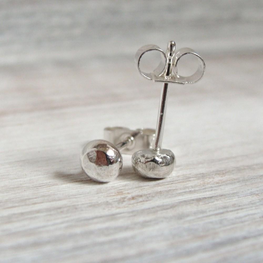 Sterling Silver Pebble Stud Earrings