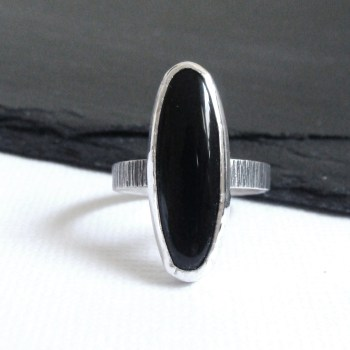 Sterling Silver & Black Onyx Winged Heart Ring
