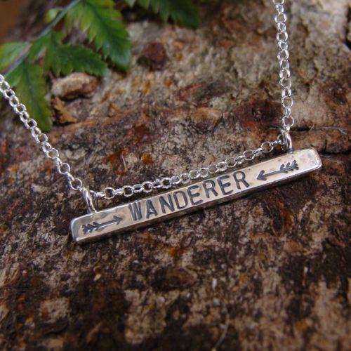 Sterling Silver WANDERER Stamped Bar Necklace