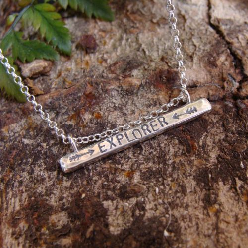 Sterling Silver EXPLORER Stamped Bar Necklace