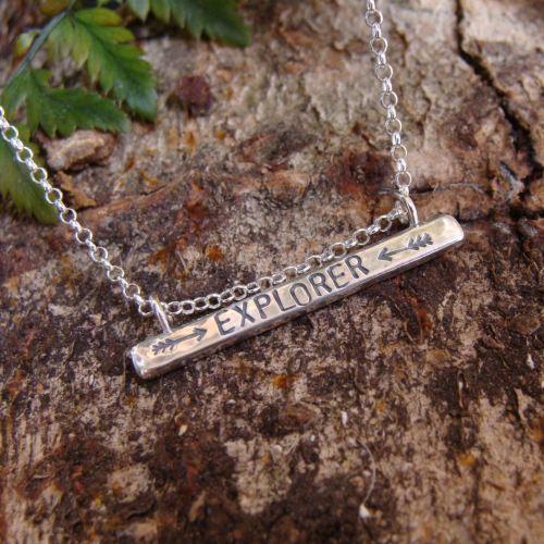Sterling Silver EXPLORER Stamped Bar Necklace