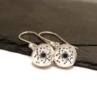 Sterling Silver Love Heart Dandelion Illustration Charm Earrings