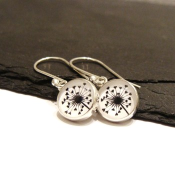 Sterling Silver Love Heart Dandelion Illustration Charm Earrings