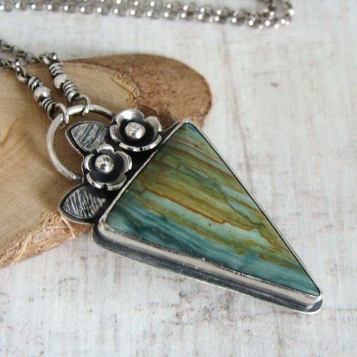 Sterling Silver Larsonite 'Gary Green' Petrified Bogwood Pendant Necklace