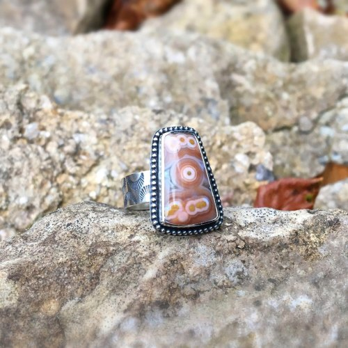 Sterling Silver Orange Ocean Jasper Ring